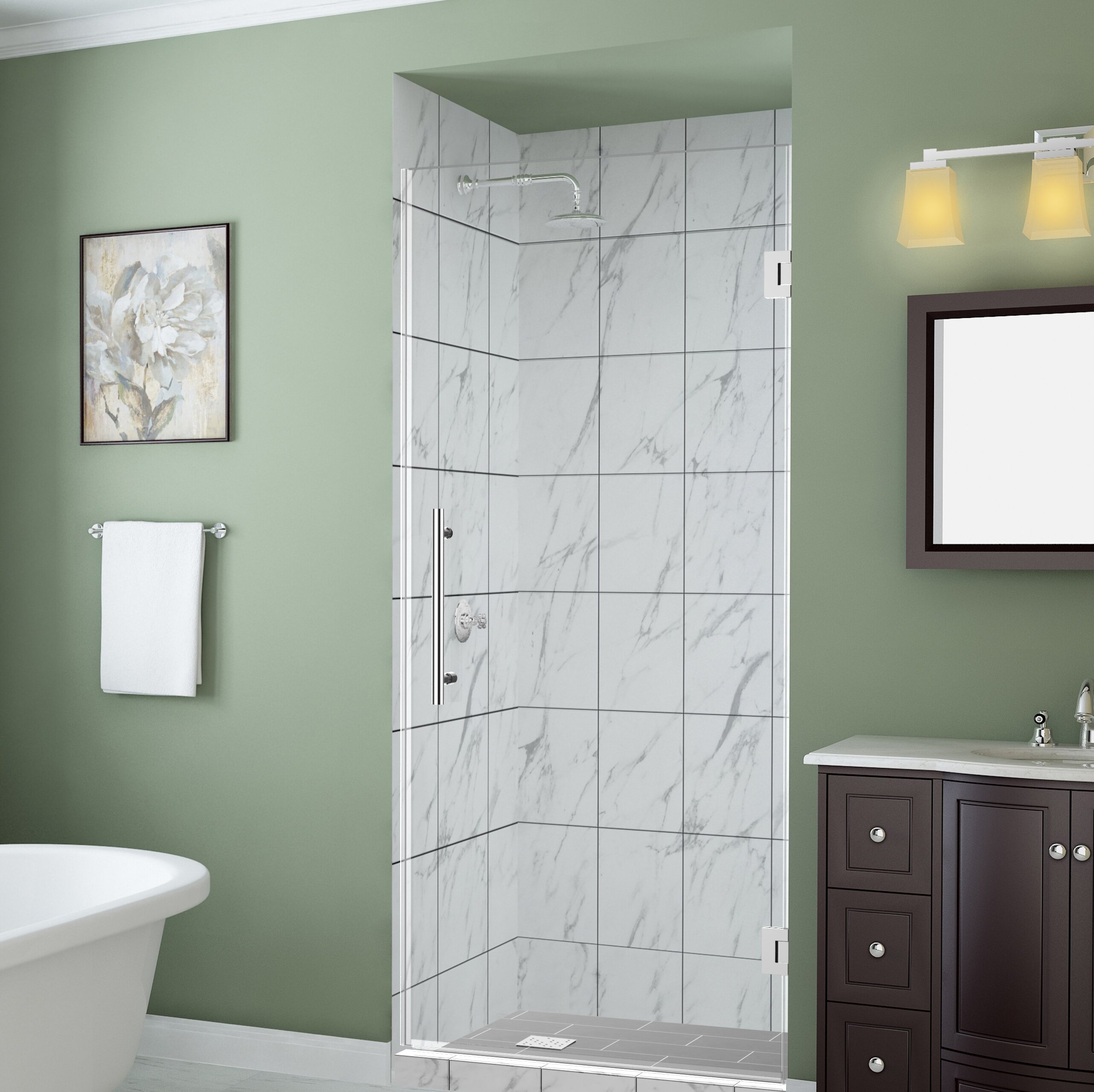 Belmore Gs 56 X 72 Hinged Frameless Frosted Shower Door