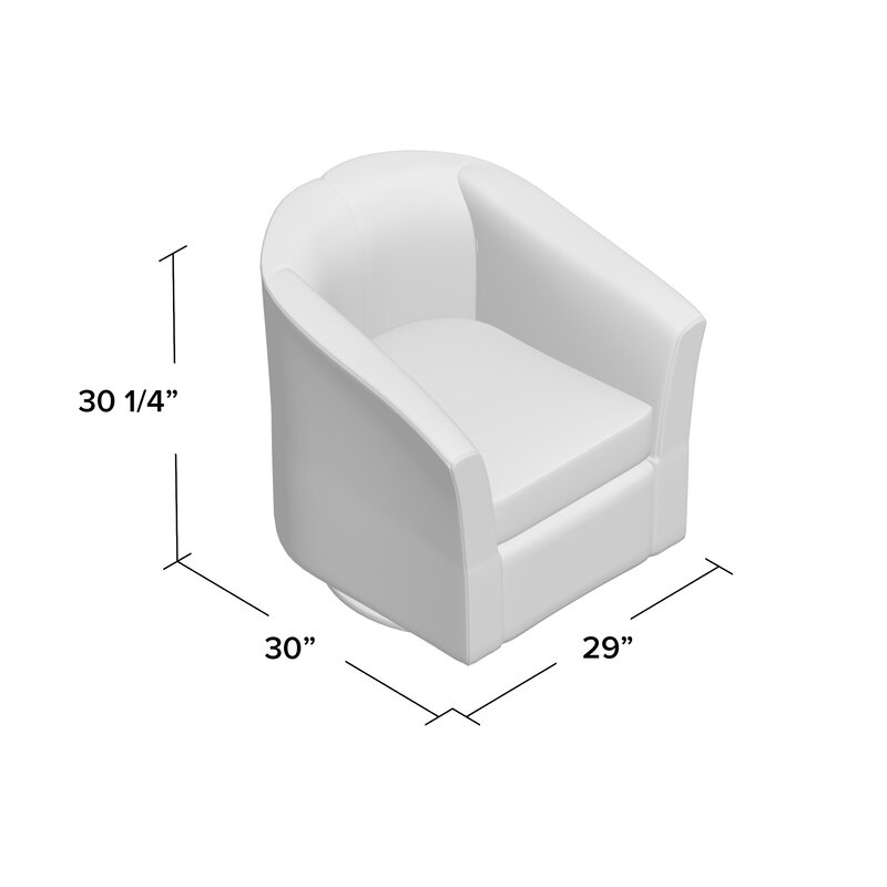 Wade Logan Wilmore Faux Leather Swivel Barrel Chair