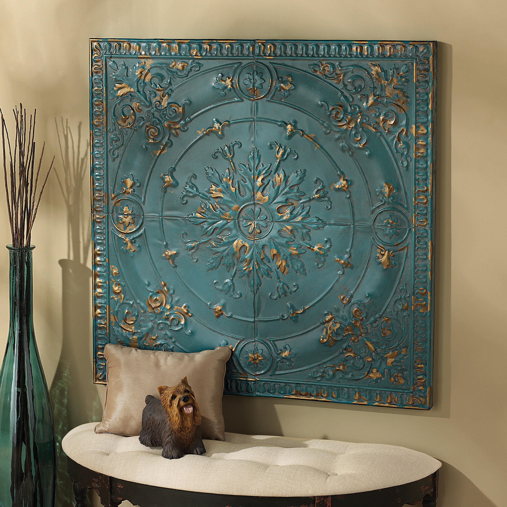 Design Toscano Viennese Pressed Metal Ceiling Tile Wall Dcor