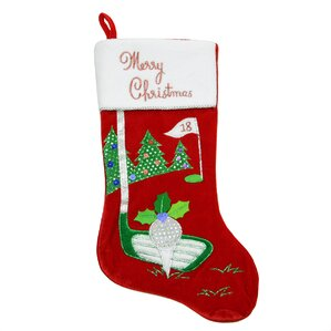 Velveteen Golf Themed Christmas Stocking With Embroidered Cuff