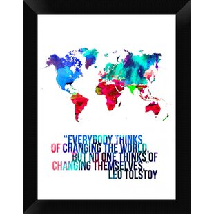 World map with quote wayfair world map quote mahatma gandi framed graphic art print on canvas gumiabroncs Image collections