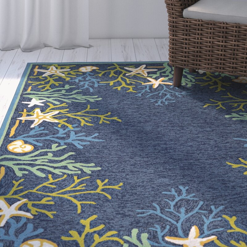 Rundall Sea Water Hand Hooked Blue Indoor Outdoor Area Rug