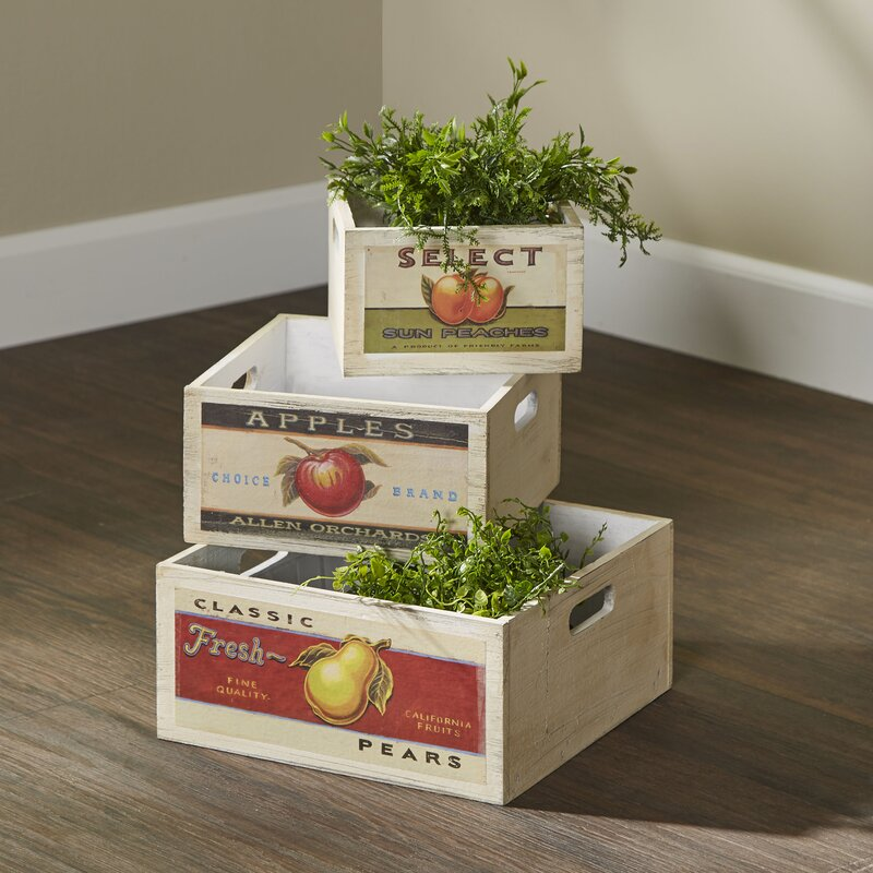 3 Piece Assorted Retro Fruit Solid Wood Crate Set