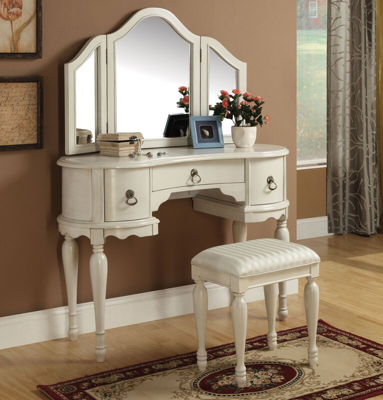 Makeup Vanity Set with Mirror. Infini Furnishings Makeup Vanity Set with Mirror   Reviews   Wayfair