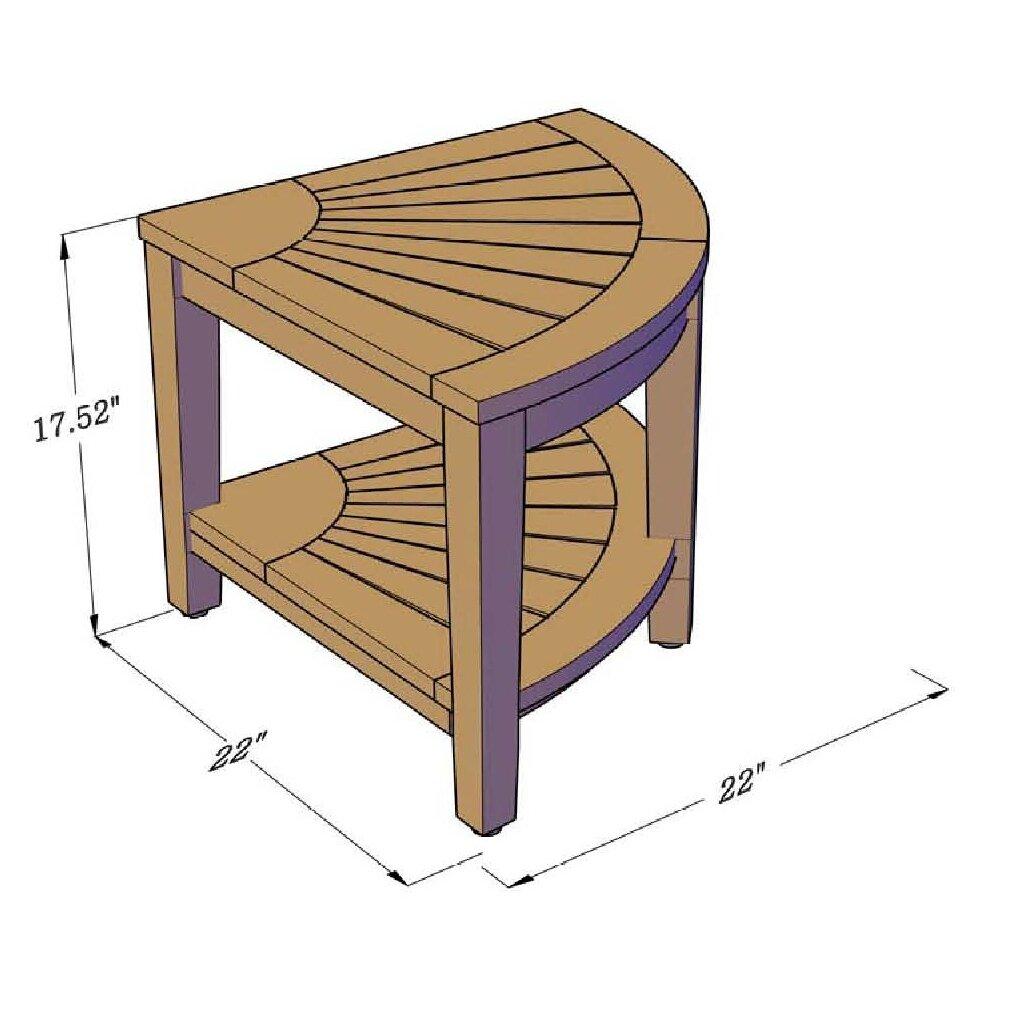 Aqua Teak Corner Shower Stool With Shelf Amp Reviews Wayfair