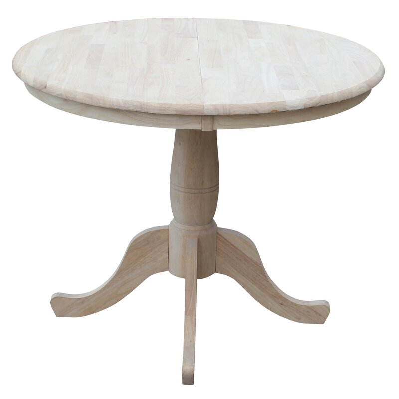 Lark Manor Overbay Round Pedestal 30 Extendable Dining Table