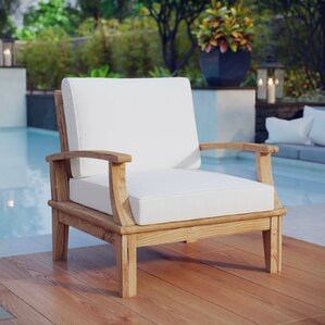 Elaina Teak Outdoor Patio Arm Chair With Cushion
