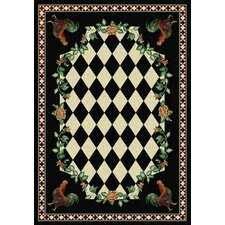 Novelty High Country Rooster Black Area Rug