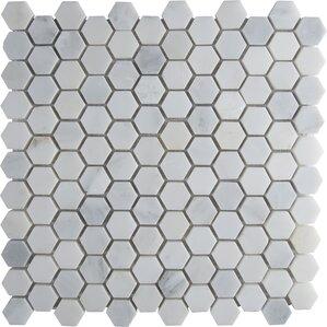 Arabeo Carrara 12 X Hexagon Dot Tile In Mosaic