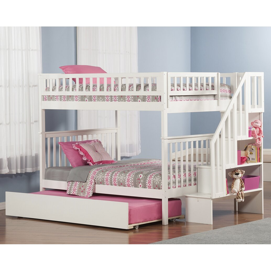 Bunk bed with stairs and storage - Shyann Full Over Full Bunk Bed With Trundle