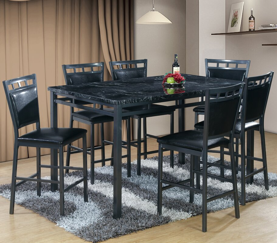 7 piece counter height dining table set - Gray Dining Room Furniture