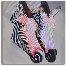 Pastel Zebra Duo' Painting on Wrapped Canvas