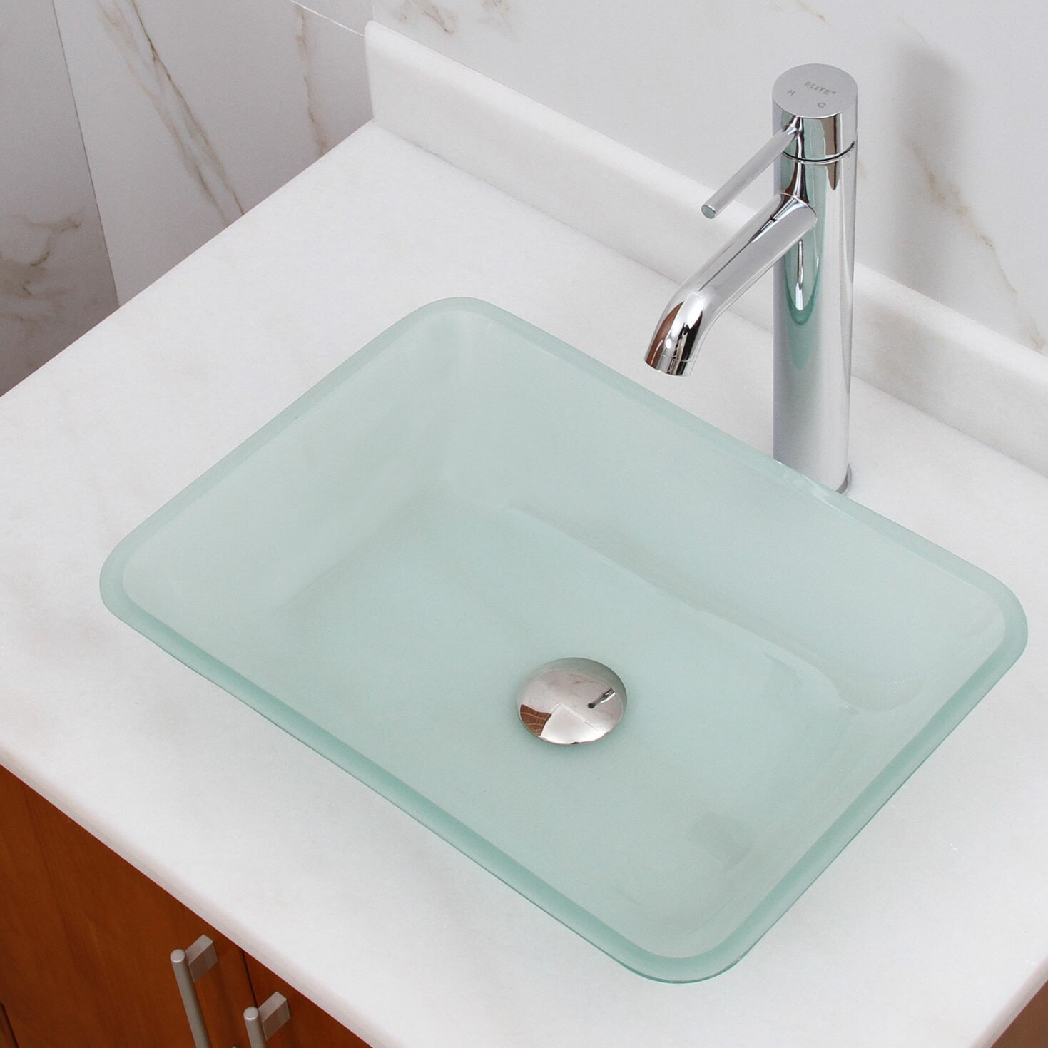 Elimaxs Elite Frosted Tempered Glass Rectangular Vessel Bathroom Sink Reviews Wayfair