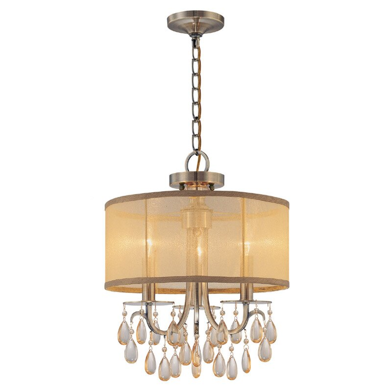crystorama hampton 3 light drum chandelier reviews wayfair. Black Bedroom Furniture Sets. Home Design Ideas