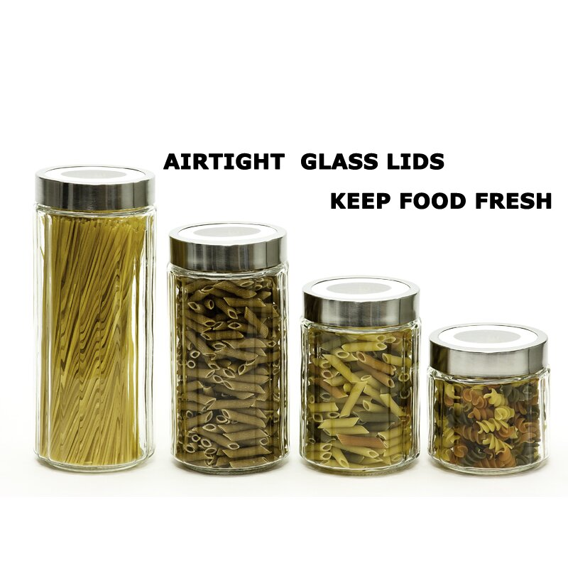 imperial home glass ribbed design 4 piece kitchen canister unique primitive rustic 4 pc glass canister set hoosier