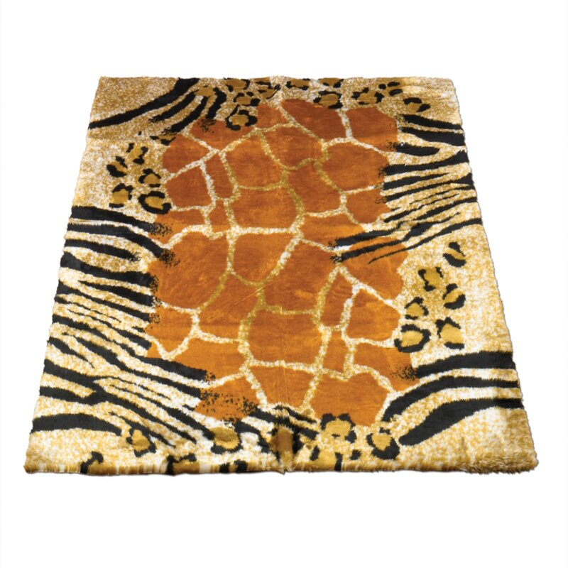 Walk On Me Animal Black/Brown Safari Print Area Rug
