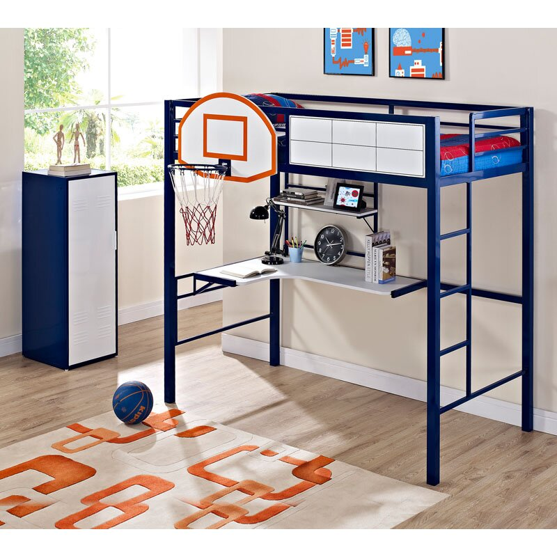 Powell White Twin Bedroom In A Box: Powell Hoops Basketball Twin Loft Bed & Reviews