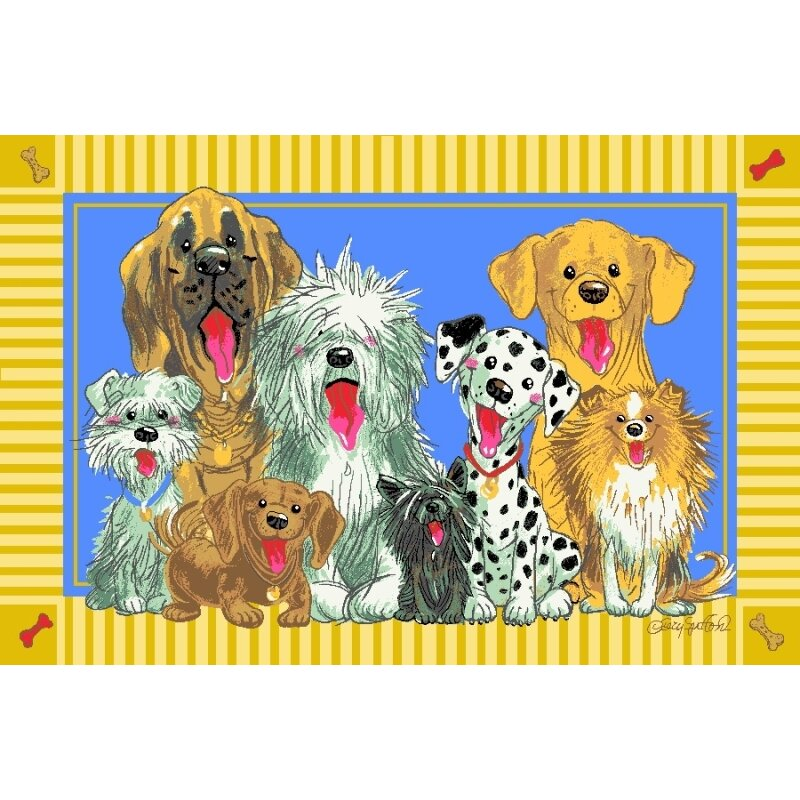 Dog Rug Sizing: Fun Rugs Wags And Whiskers The Dogs Of Duckport Area Rug