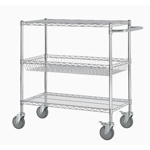 "40"" Three Shelf Heavy Duty Commercial Grade Shelving Cart"