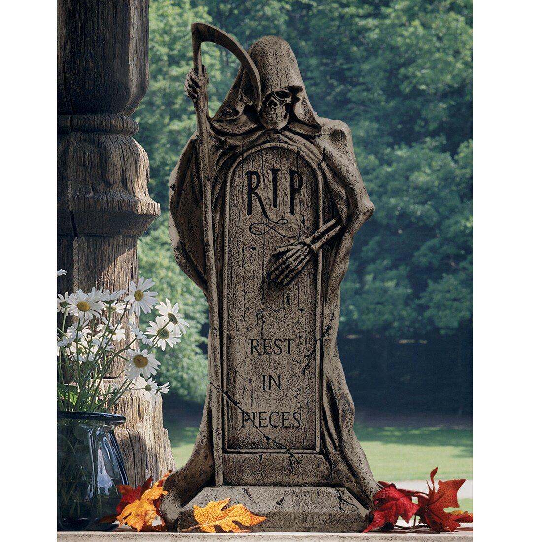 Design Toscano 'Rest in Pieces' Grim Reaper Tombstone ...