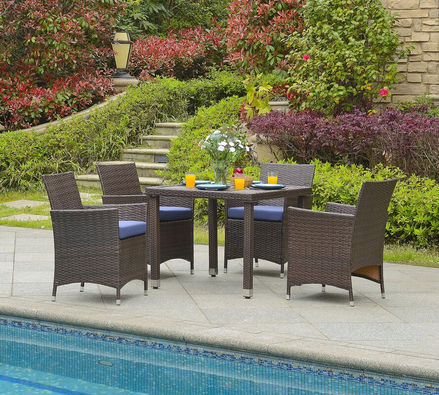 Brayden Studio Mercer  Piece Outdoor Dining Set with Cushion