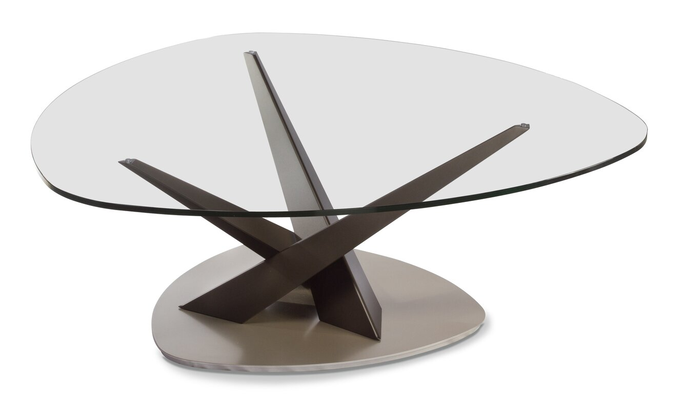 elitemodern crystal triangular coffee table | wayfair