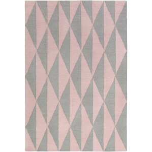 Hilda Sonja Hand Crafted Gray/Light Pink Area Rug