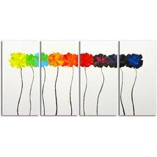 Colorful Arrangement 4 Piece Painting on Canvas Set