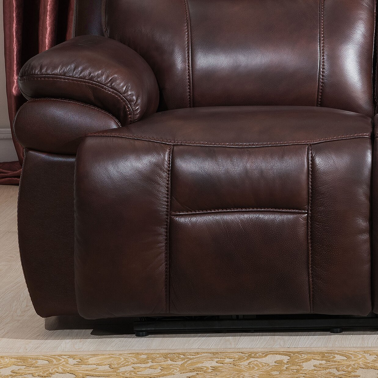 Amax Sanford 2 Piece Leather Power Reclining Living Room Set With Usb Ports Power Headrests