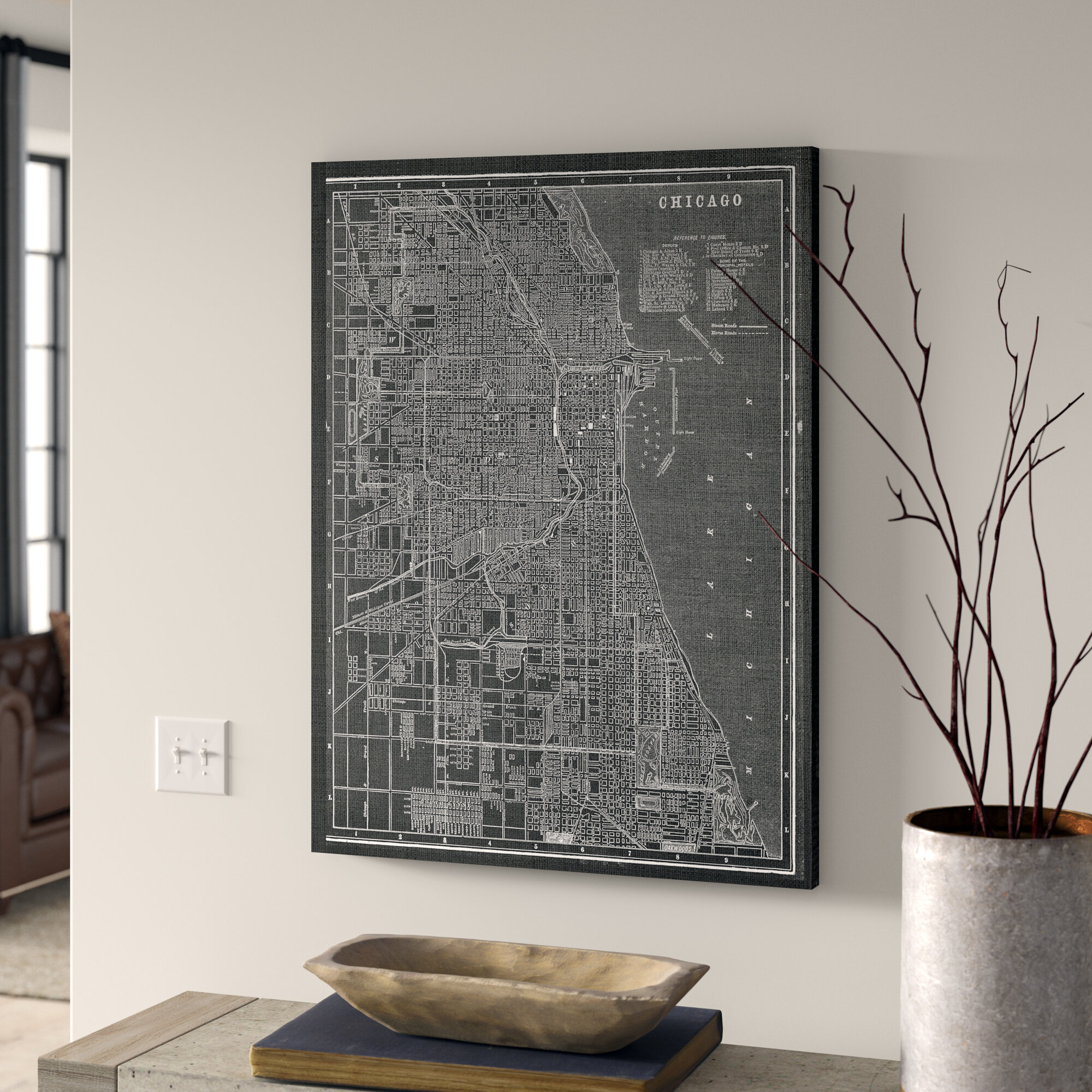 Chicago Map Canvas.Greyleigh Chicago Sketch Map Graphic Art Print On Wrapped Canvas