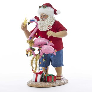 fabrich beach santa with flamingo figurine - Santa Claus Christmas Decorations
