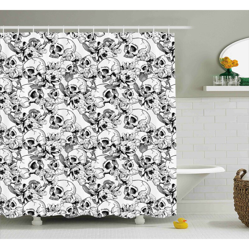 Keels Day Of The Dead Festive Celebration Mexican Spanish Sketch Skulls Art Print Shower Curtain