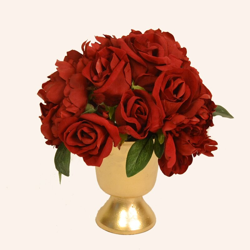 red rose and peony in gold urn - Garden Rose And Peony