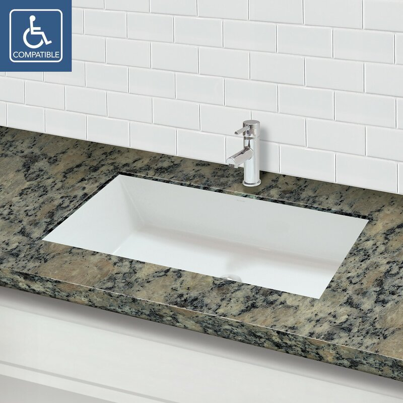 Sondra Solid Surface Acrylic Rectangular Undermount Bathroom Sink With Overflow