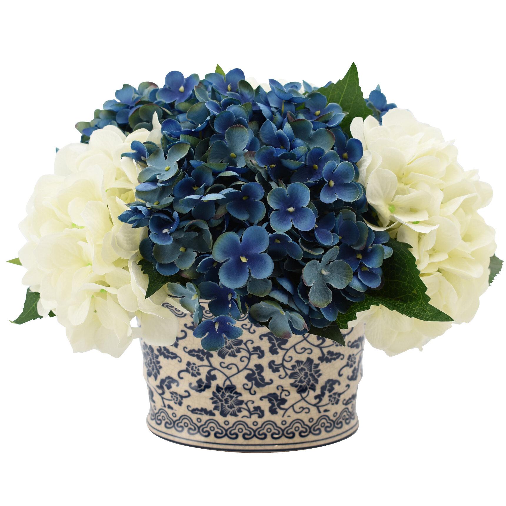 9d91b81a8216 Hydrangea Floral Arrangement in Chinoiserie Vase   Reviews