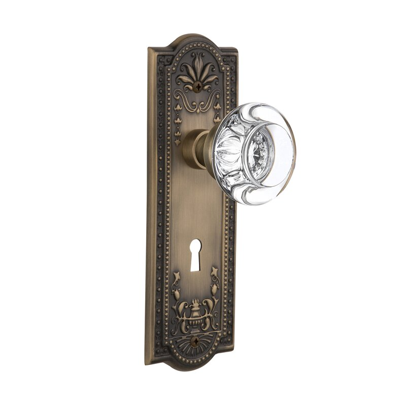 Round Clear Crystal Glass Interior Mortise Door Knob With Meadows Plate