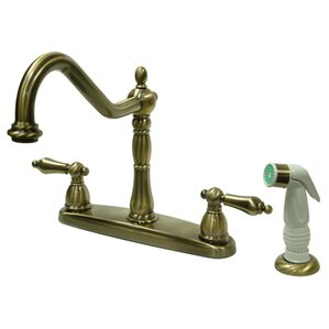 Kingston Brass Heritage Double Handle Centerset Kitchen Faucet with Non-Metallic Spray