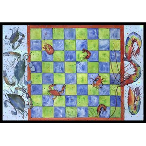 Crab and Shrimp Checkerboard Doormat