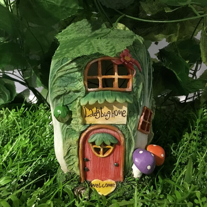 Fairy Garden Cabbage House With Lights Statue