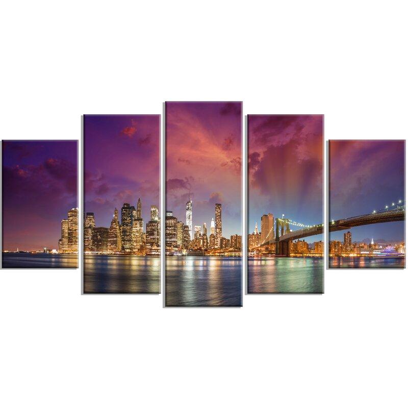 Captivating U0027New York City Manhattan Skylineu0027 5 Piece Wall Art On Wrapped Canvas Set  In. U0027 Part 29