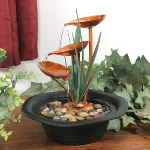 Yelton Resin Metal 3 Leaf Cascading Tabletop Water Fountain With Light