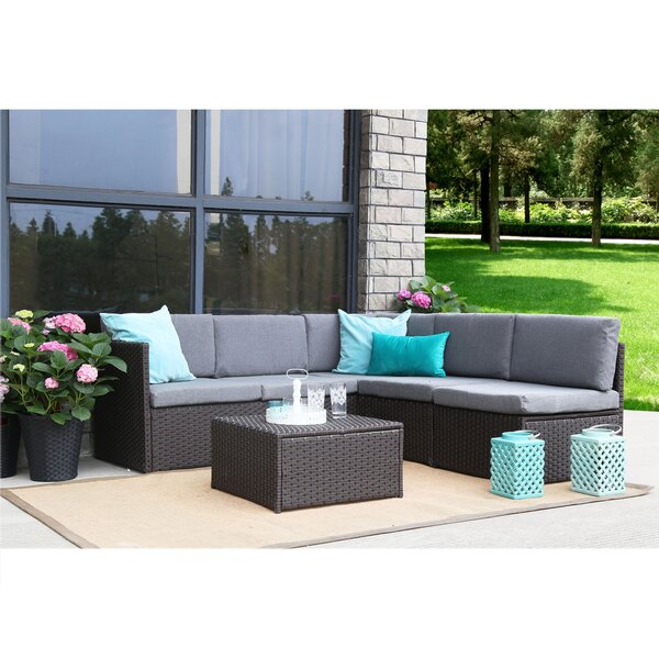 Wrought Studio Mabie Complete 4 Piece Rattan Sectional Sofa Set With Cushions Wayfair
