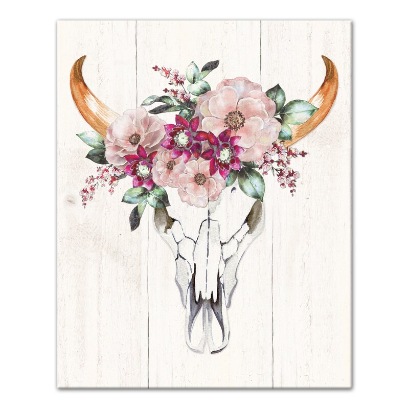 Bungalow Rose 'Cow Skull with Flowers' Watercolor Painting ...