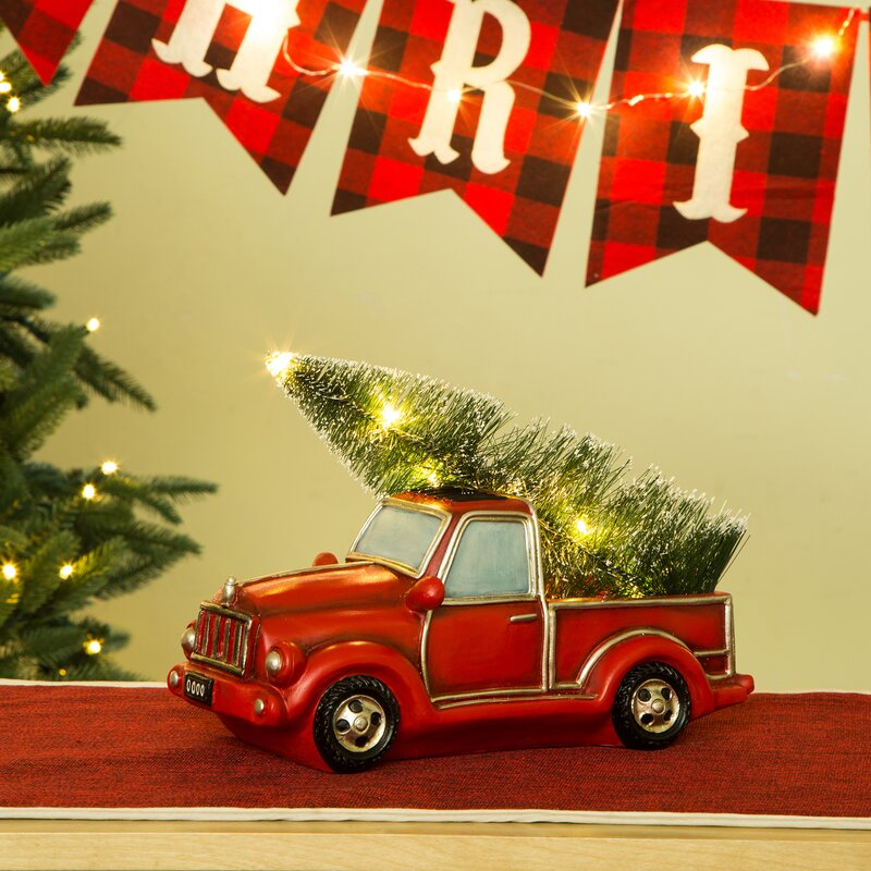 lighted truck table decor - Red Truck Christmas Decor