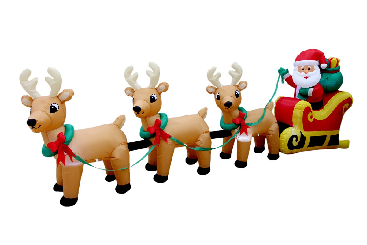 christmas inflatable santa claus on sleigh with three reindeer decoration - Reindeer With Santa