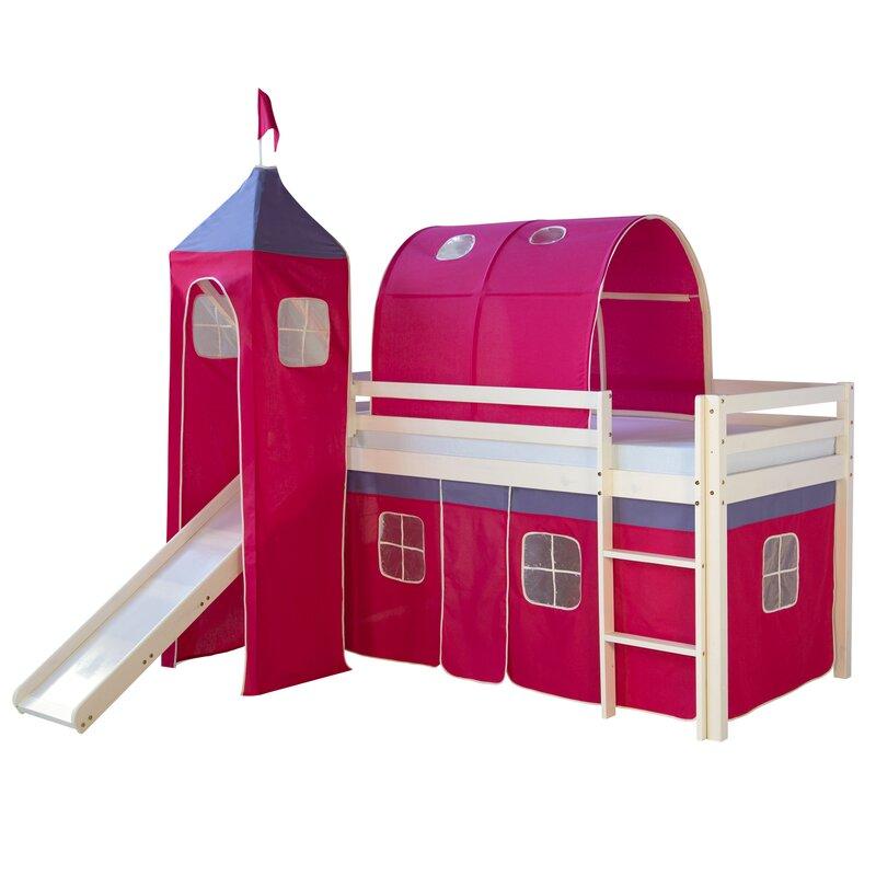 roomie kidz halbhochbett kyree mit rutsche vorhang turm. Black Bedroom Furniture Sets. Home Design Ideas