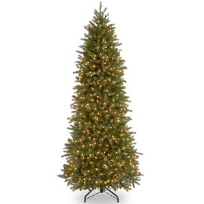 feel real fraser pencil slim 65 slender fir artificial christmas tree with 550 clear lights - Christmas Tree Slim