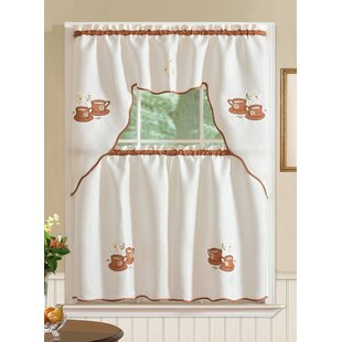 Mayer Coffee 3 Piece Kitchen Curtain Set