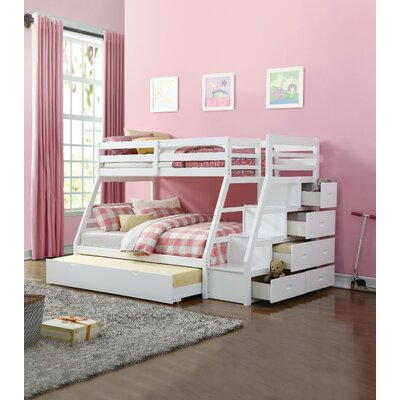 Freeport Wooden Twin over Full Bunk Bed with Trundle Harriet Bee Bed Frame Color: White