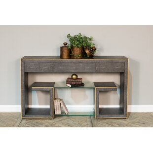 Leather Shagreen Greek Key Console Table